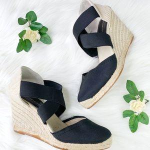 Adrienne Vittadini | Black Strappy Wedge Sandals